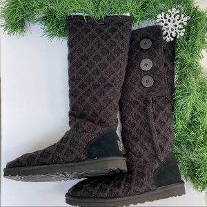 UGG Lattice Cardy black knit boot